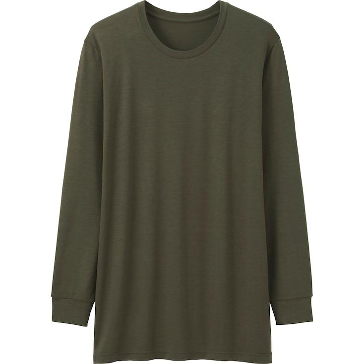 Men Heattech Crewneck T-Shirt (Long Sleeve), Olive, Large