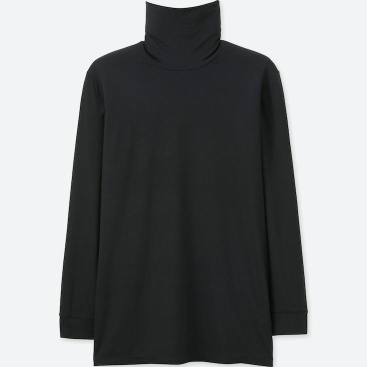 Men Heattech Turtleneck T (Long Sleeve), Black, Large