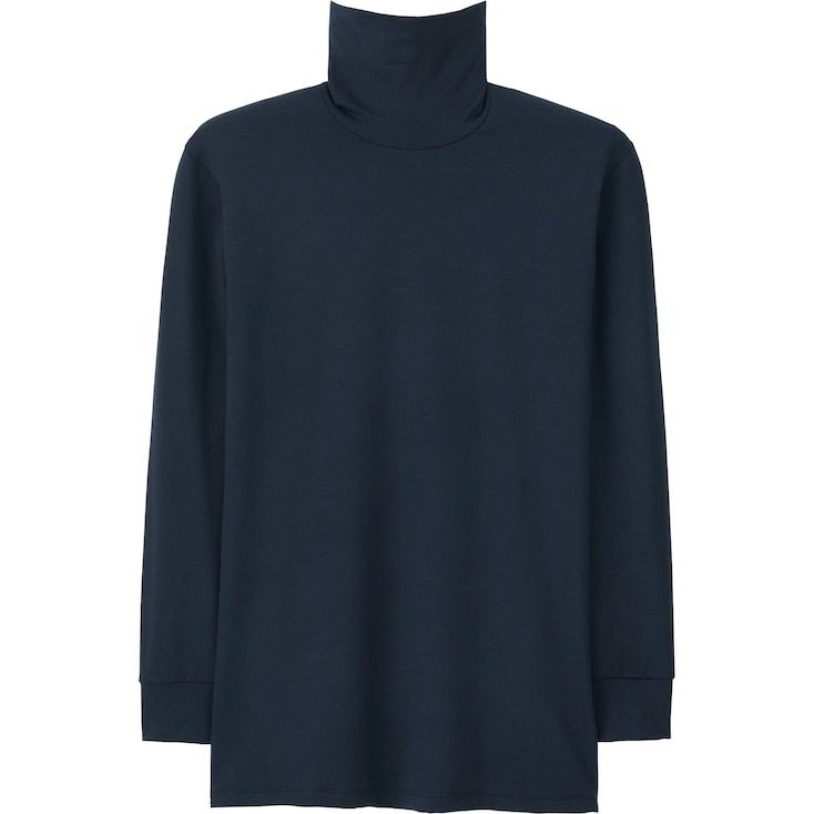 Men Heattech Extra Warm T-Shirt (Long Sleeve), Navy, Large