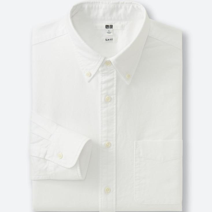 MEN OXFORD SLIM FIT LONG SLEEVE SHIRT, OFF WHITE, large