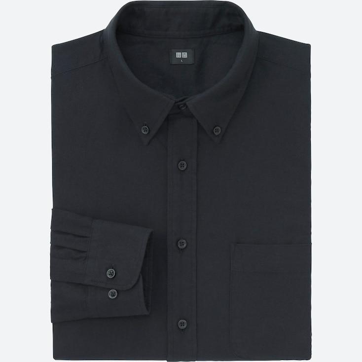 Men Flannel Long Sleeve Shirt, Black, Large