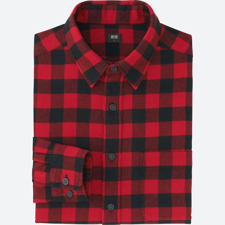 Men Flannel Buffalo Check Long Sleeve Shirt, Red, Large