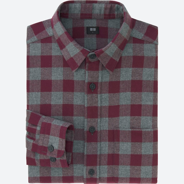 Men Flannel Buffalo Check Long Sleeve Shirt, Wine, Large