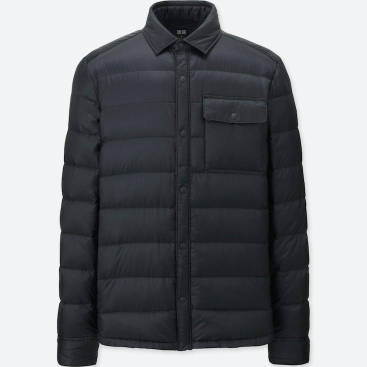 Men Ultra Light Down Shirt Jacket, Black, Large