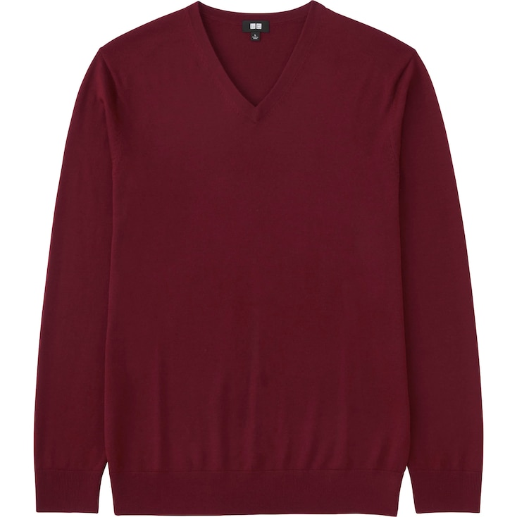Men Extra Fine Merino V-Neck Sweater, Wine, Large