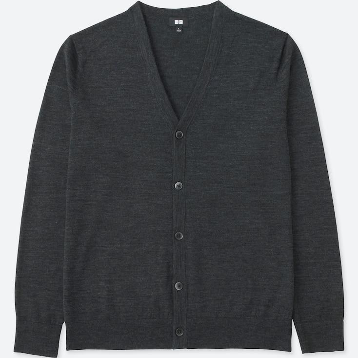Men Extra Fine Merino V-Neck Cardigan, Dark Gray, Large