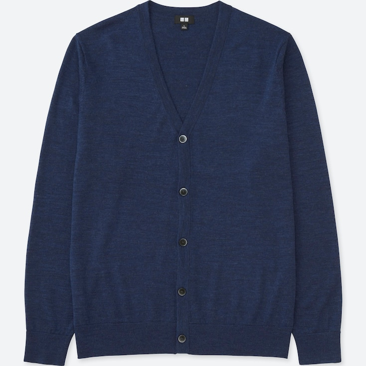 Men Extra Fine Merino V-Neck Cardigan, Blue, Large