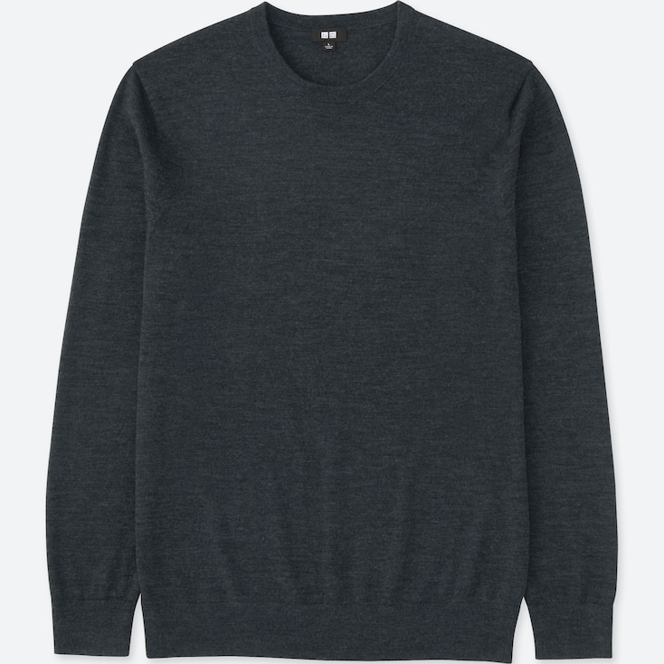 Men Extra Fine Merino Crewneck Sweater, Dark Gray, Large