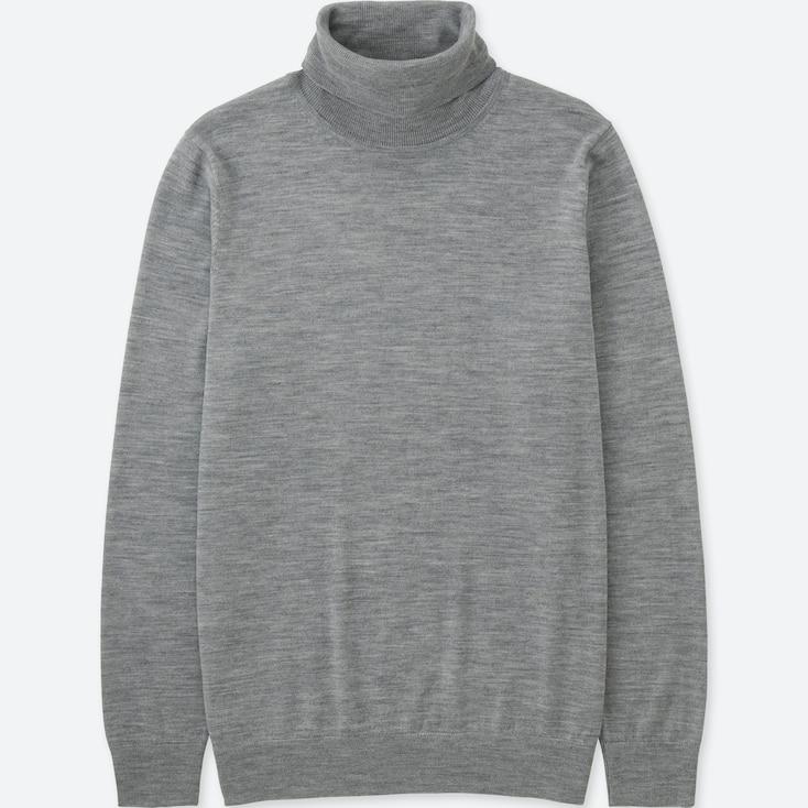 Men Extra Fine Merino Turtleneck Sweater, Gray, Large