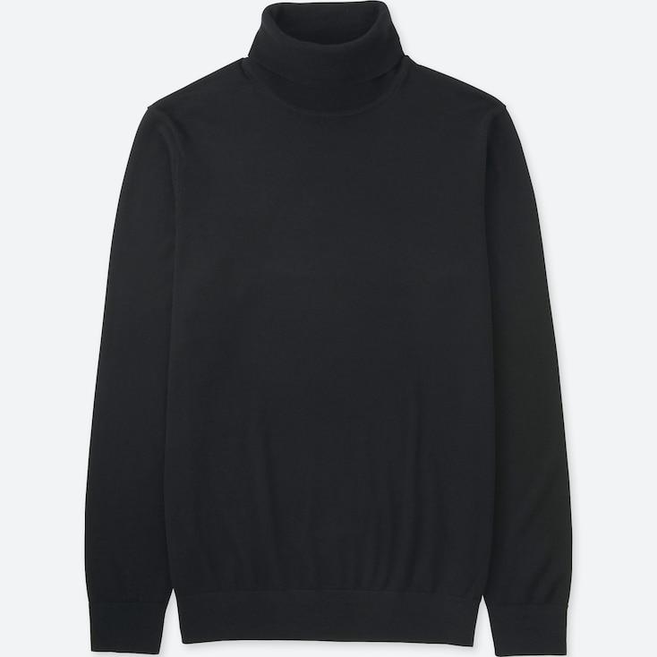 Men Extra Fine Merino Turtleneck Sweater, Black, Large