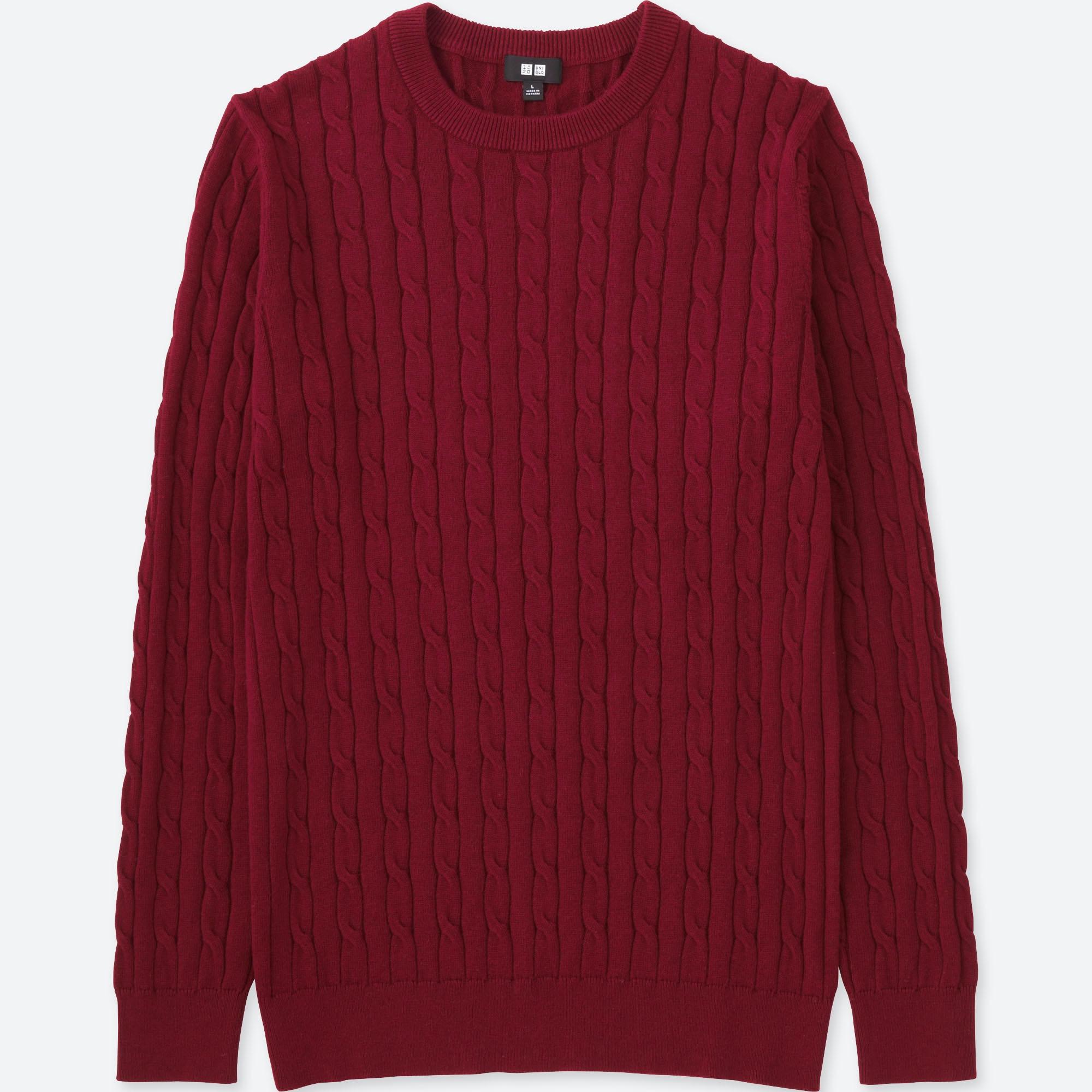 Men Cable Crewneck Sweater Uniqlo Us