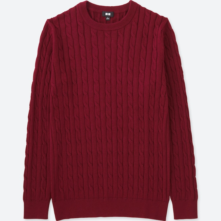 MEN CABLE CREWNECK SWEATER, RED, large