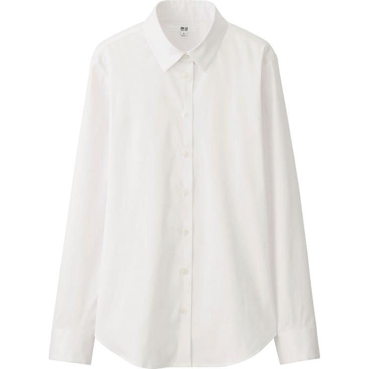 Women Supima® Cotton Stretch Long Sleeve Shirt, Black, Large