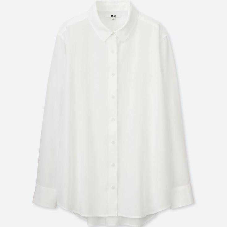 Women Rayon Long Sleeve Blouse, White, Large