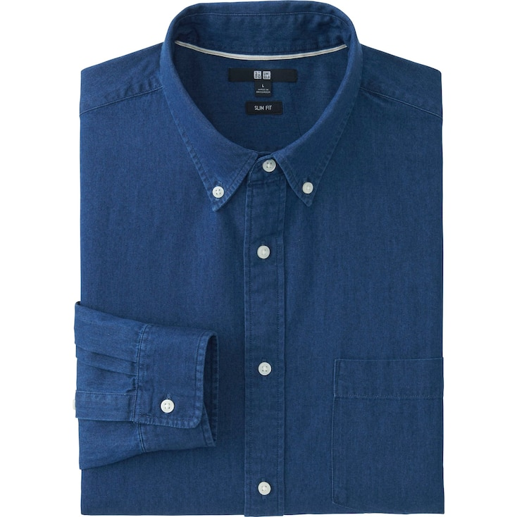 Men's Slim-Fit Denim Shirt, BLUE, large