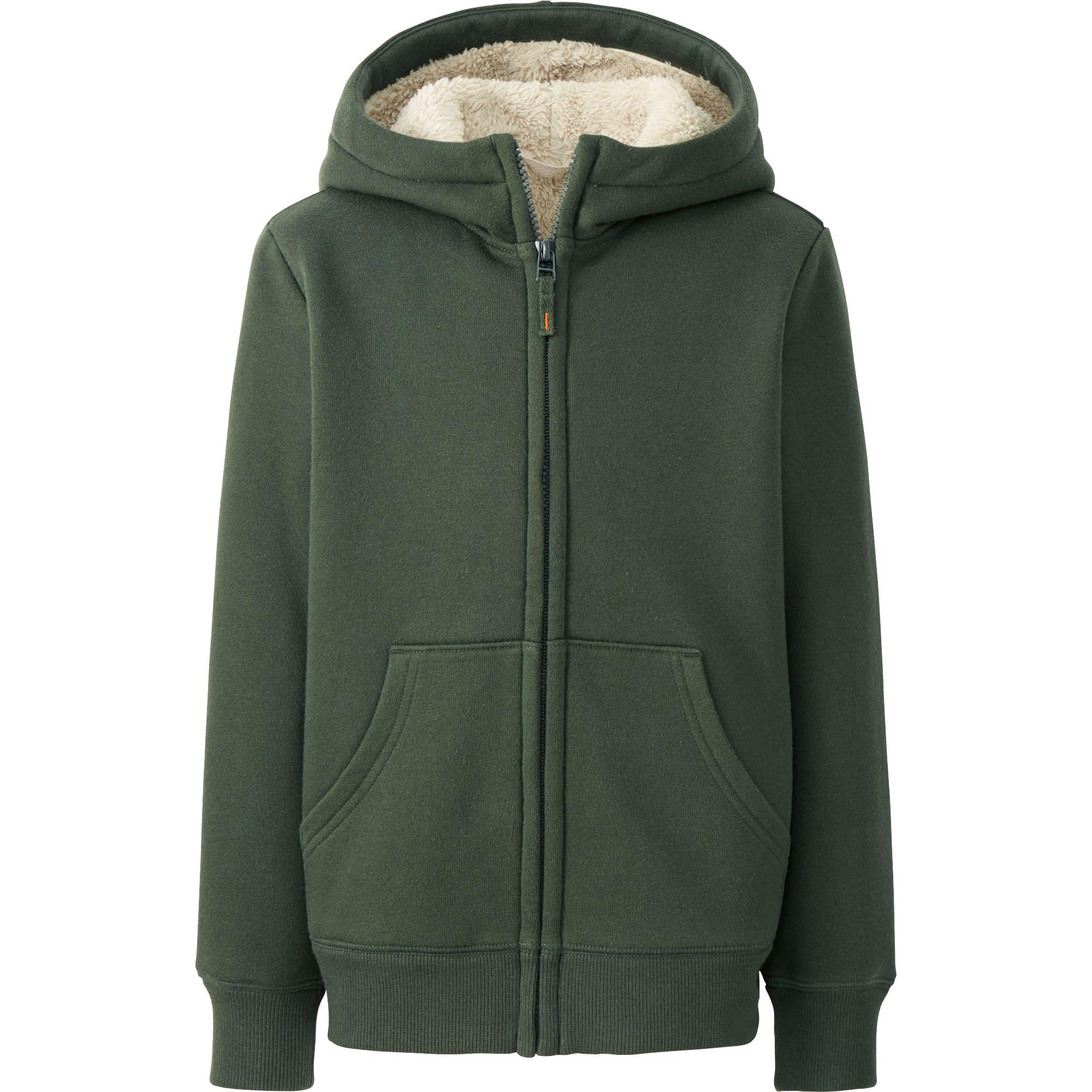 Kids Pile Lined Sweat Long Sleeve Full Zip Hooded Jacket