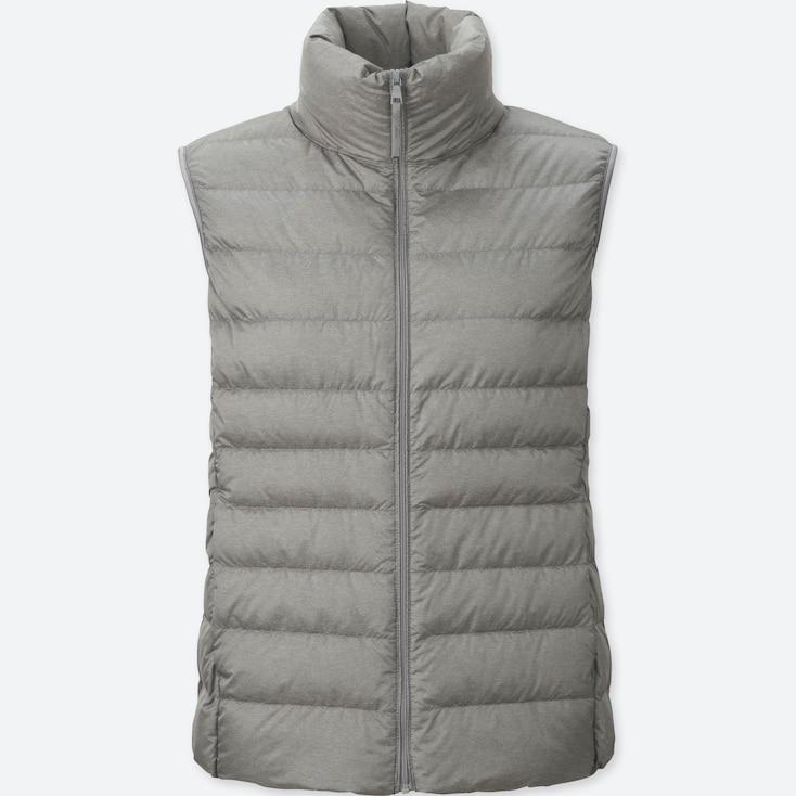 Women Ultra Light Down Vest, Gray, Large