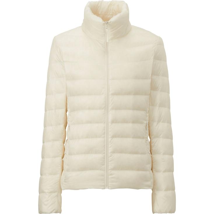 Women Ultra Light Down Jacket, Off White, Large