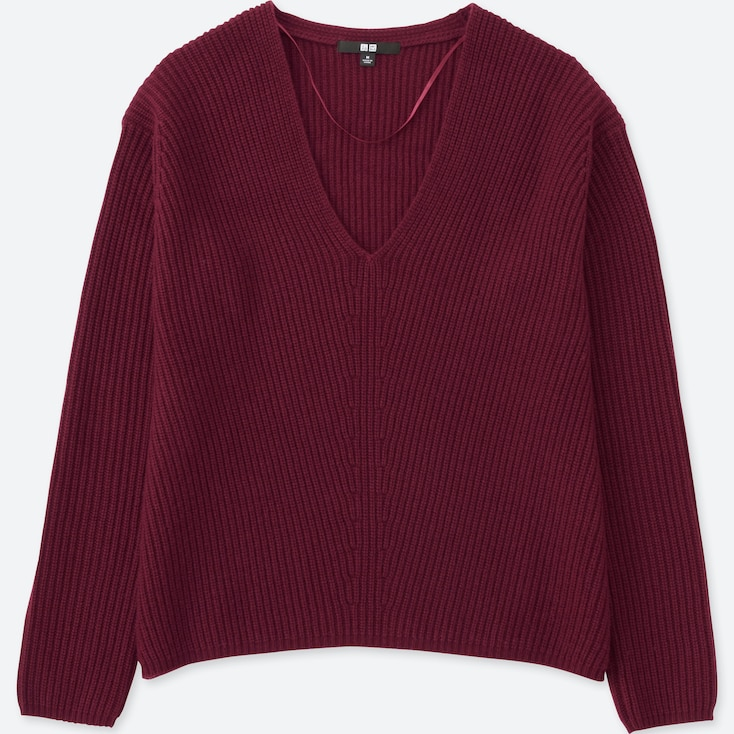 Women Cashmere Blend V-Neck Sweater, Wine, Large
