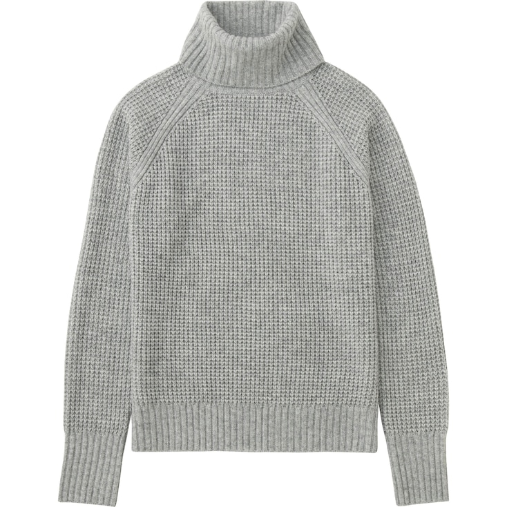 WOMEN CASHMERE BLEND TURTLENECK SWEATER, LIGHT GRAY, large