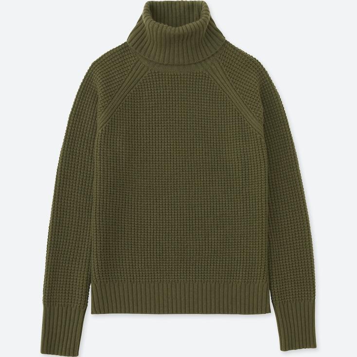 Women Cashmere Blend Turtleneck Sweater, Dark Green, Large