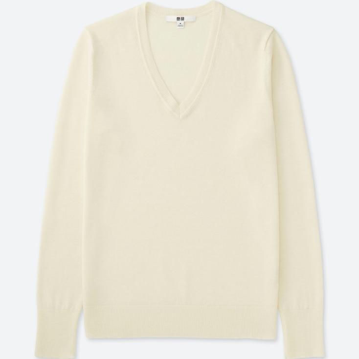 Women Extra Fine Merino Wool V-Neck Sweater, Off White, Large