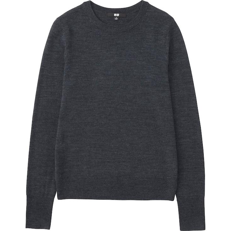 Women Extra Fine Merino Crewneck Sweater, Dark Gray, Large
