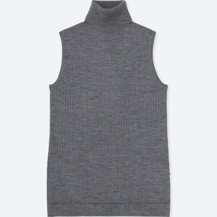 Women Merino Blend Ribbed Turtleneck Sweater, Gray, Large