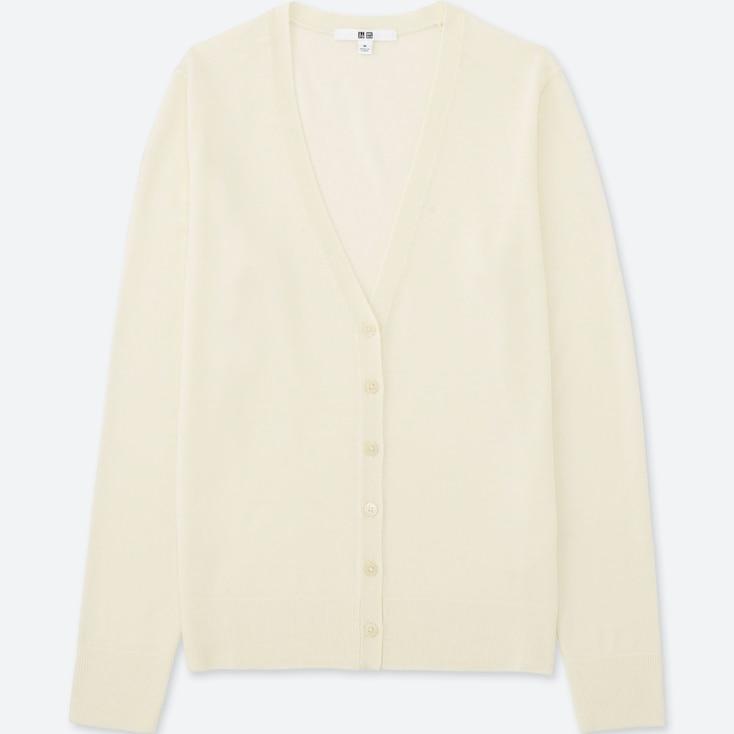 Women Extra Fine Merino Wool V-Neck Cardigan, Off White, Large