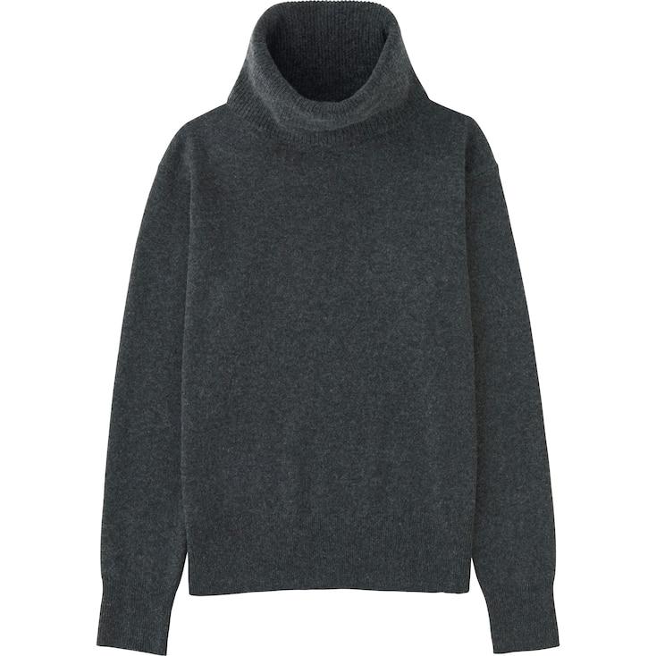 Women Cashmere Turtleneck Sweater, Dark Gray, Large