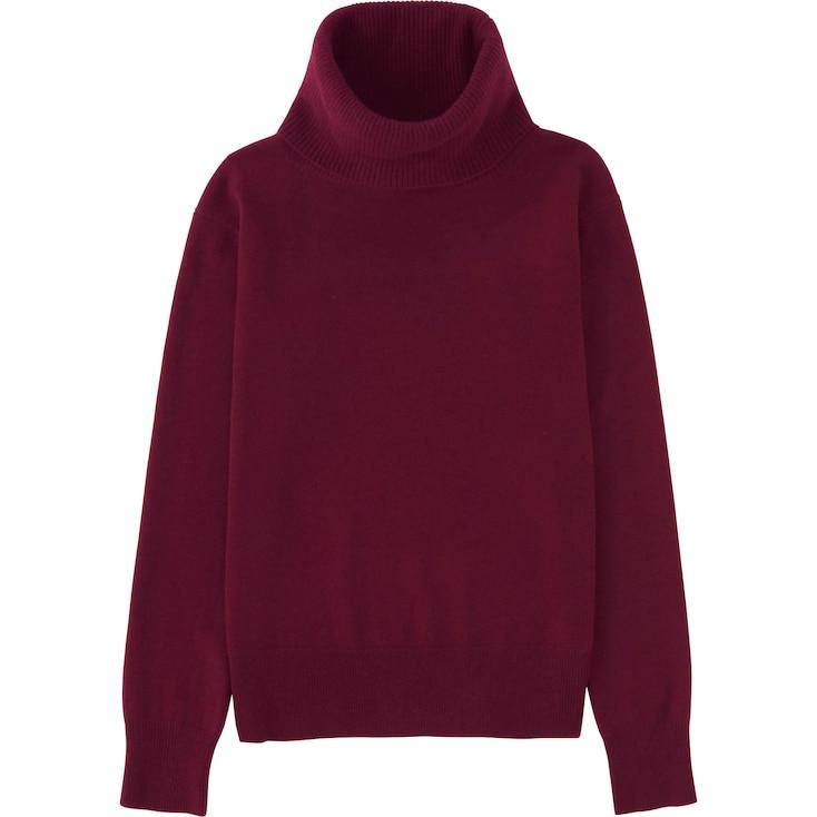 Women Cashmere Turtleneck Sweater, Wine, Large