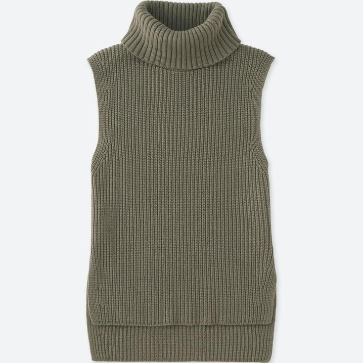 Women Middle Gauge Turtleneck Long Vest, Olive, Large
