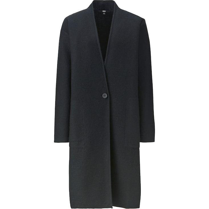 Women Felted Wool Long Coat, Black, Large