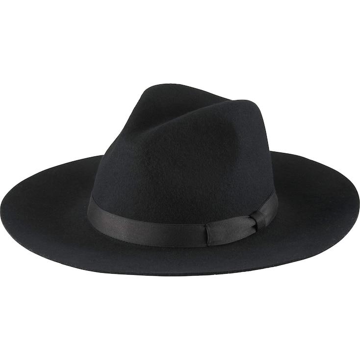 Women Wool Wide Brim Fedora Hat, Black, Large