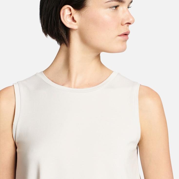 Women Cotton Modal Long Tank Top, Light Gray, Large