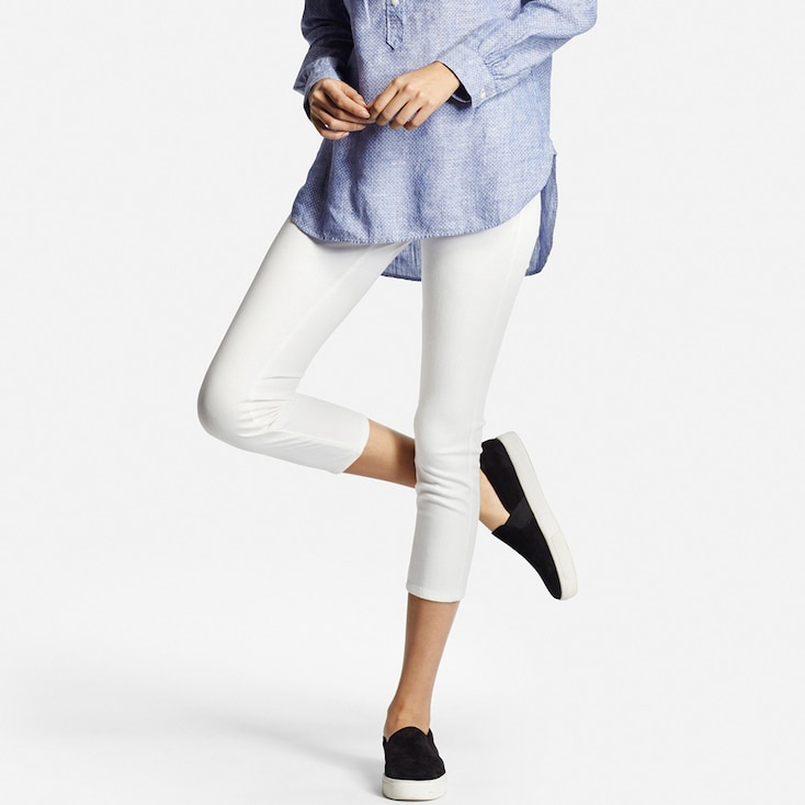 Women Cropped Leggings, White, Large