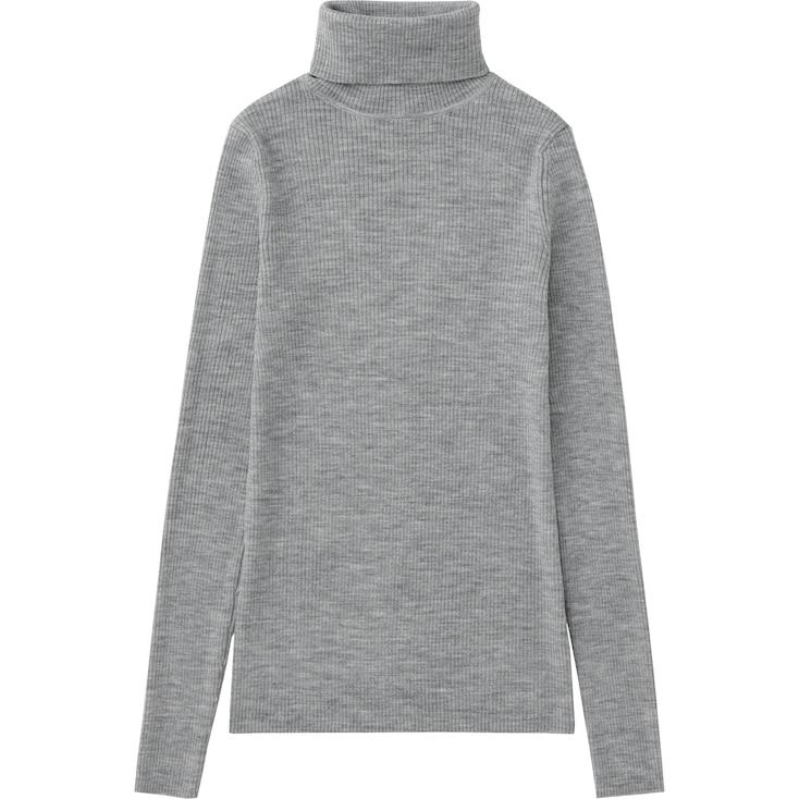 Women Extra Fine Merino Ribbed Turtle Neck Sweater, Gray, Large