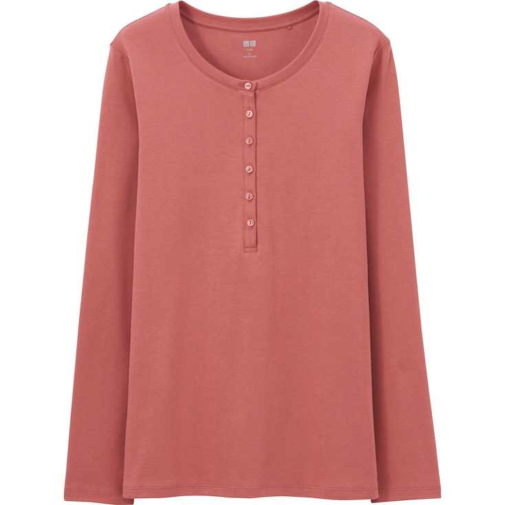 WOMEN Supima® COTTON HENLEY NECK LONG SLEEVE T, PINK, large