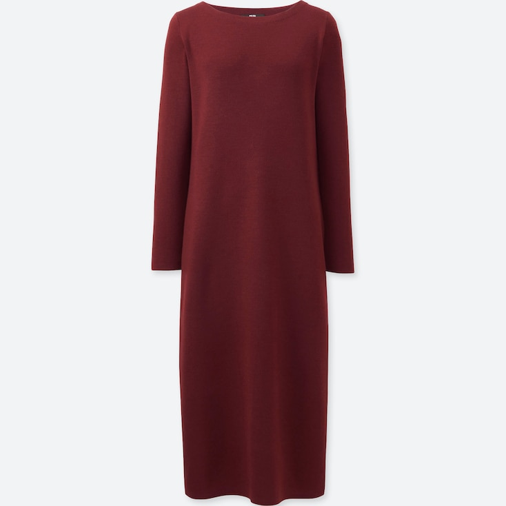 WOMEN KNIT COLUMN LONG SLEEVE DRESS, WINE, large