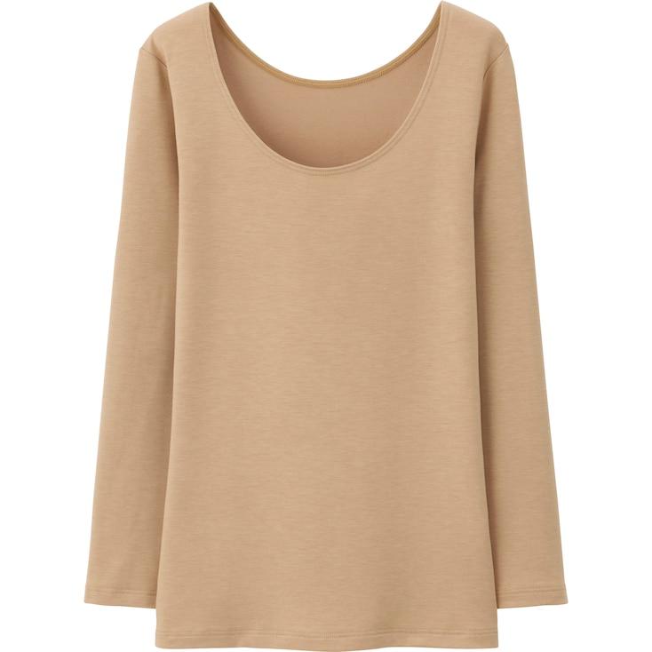 Women Heattech Extra Warm Scoop Neck T-Shirt, Beige, Large