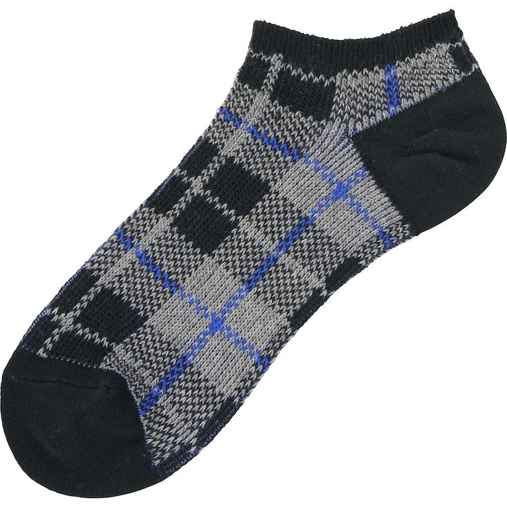 Men Checked Short Socks, Black, Large
