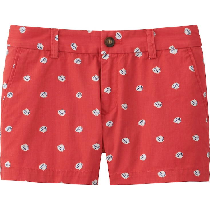 Women Chino Micro Shorts, RED, large