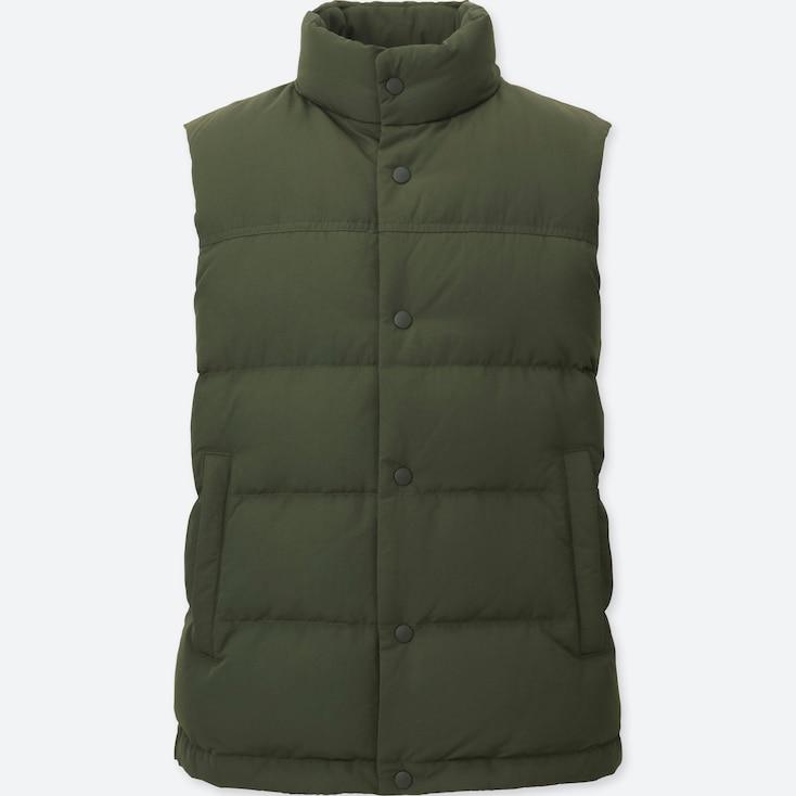 Men Down Vest, Olive, Large