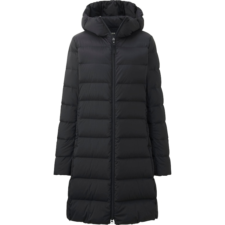 Women Ultra Light Down Stretch Hooded Coat, Black, Large