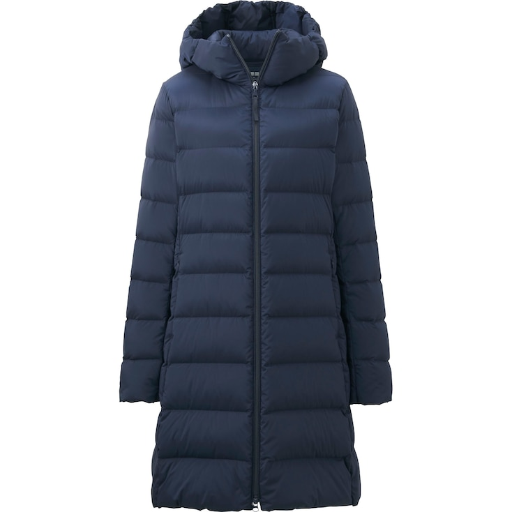 WOMEN ULTRA LIGHT DOWN STRETCH HOODED COAT, NAVY, large