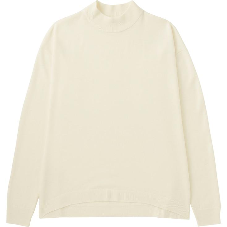 Women Extra Fine Merino Wool High Neck Sweater, Off White, Large