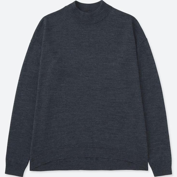 Women Extra Fine Merino Wool High Neck Sweater, Dark Gray, Large