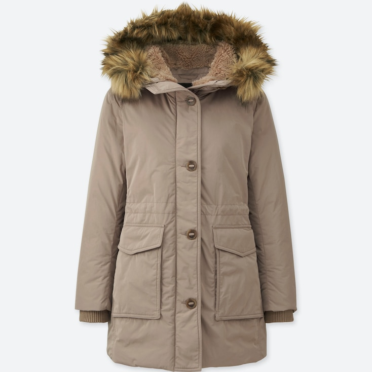 WOMEN WARM TECH DOWN MILITARY COAT, BEIGE, large