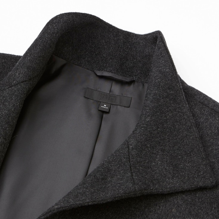 Women Cashmere Blended Stand Collar Coat, Black, Large