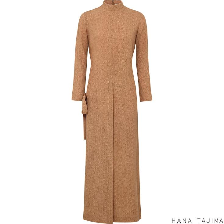 Women UNIQLO & Hana Tajima Linen Cotton Wrap Dress, BEIGE, large